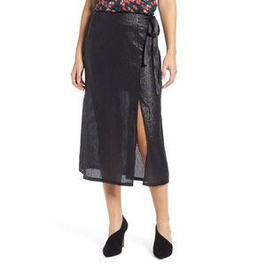Something Navy Wrap Sequin Midi Skirt